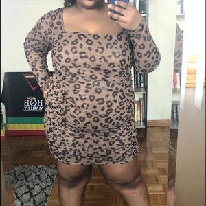 Pretty little thing leopard ruched dress